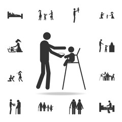 father feeds the child icon. Detailed set of family icons. Premium graphic design. One of the collection icons for websites, web design, mobile app