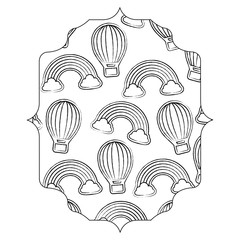 arabic frame of hot air balloon and rainbow pattern over white background, vector illustration
