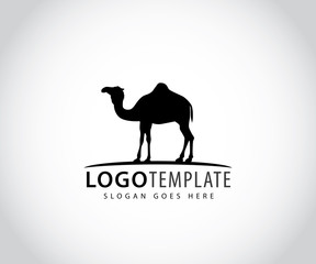 camel in horizon line vector icon logo design