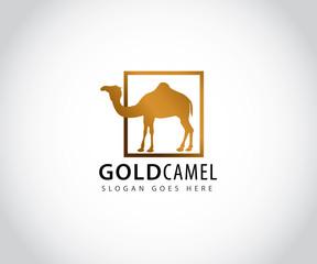 gold camel inside box vector icon logo design