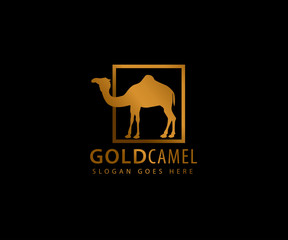 gold camel inside box vector icon logo design