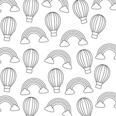 background of hot air balloon and rainbow pattern, vector illustration