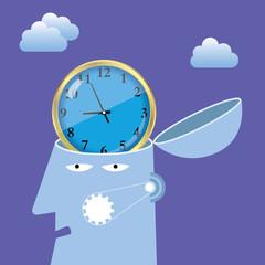 Artificial intelligence concept design, clock in the brain.