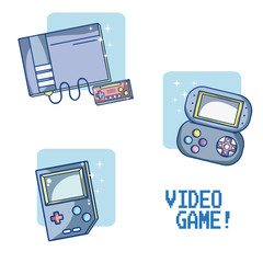 Set of videogame and consoles