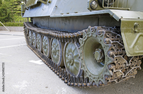 Caterpillar of an armored personnel carrier, close-up
