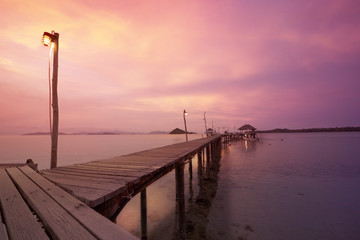 wooden walkway and sunset  background