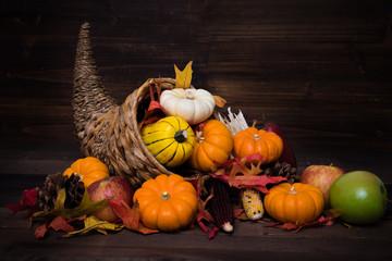 Thanksgiving or fall cornucopia