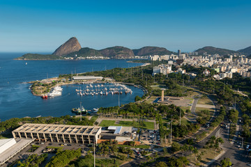 Aerial View of Museum of Modern Art, Marina da Gloria and the Sugarloaf Mountain in the Horizon, in Rio de Janeiro, Brazil