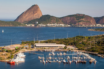 View of Marina da Gloria With Ships and Yachts in Guanabara Bay, and the Sugarloaf Mountain in the Horizon, in Rio de Janeiro, Brazil
