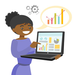 Black woman showing charts on the laptop. Businesswoman presenting report with charts. Presentation concept. Vector cartoon illustration isolated on white background.