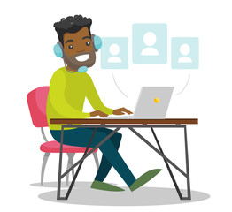 A black man in headset with a computer at the desk. Making contacts in social media. Concept of work, office, internet, network, conference. Vector cartoon illustration isolated on white background.