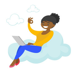 A woman on a cloud working on a laptop computer and showing ok sign. Concept of freelance work, cloud computing, accessibility and mobility. Vector cartoon illustration isolated on white background.