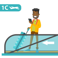 A black man traveller standing on airport escalator with a phone and suitcase in hands. Flight passenger uses a smartphone on flat escalator. Vector cartoon illustration isolated on white background.