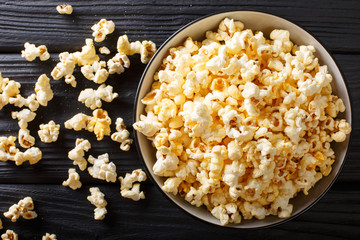 popcorn cheese in a bowl closeup. Horizontal top view