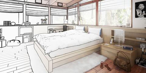 Schlafzimmer im Entwurf