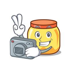 Photographer cream jar mascot cartoon