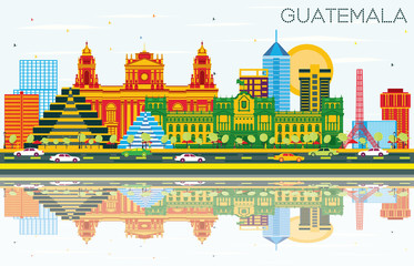 Guatemala Skyline with Color Buildings, Blue Sky and Reflections.