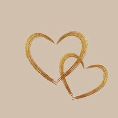Gold Heart . Grunge stamps. Love shape for your design.
