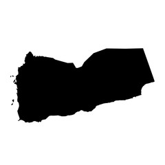 black silhouette country borders map of Yemen on white background. Contour of state. Vector illustration