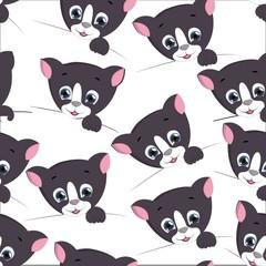 cute cat seamless pattern . vector illustration