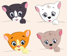 cute cat set cartoon. vector illustration
