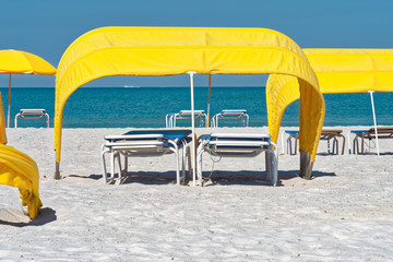 Yellow cabanas on the beach