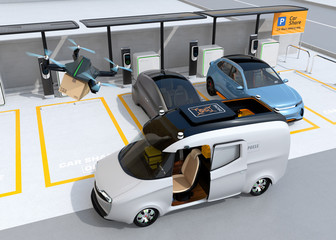 Drone takes off from delivery van to delivering parcel. Metallic gray electric car charging at parking lot. Last one mile concept. 3D rendering image.