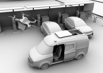 Clay rendering of delivery drone takes off from delivery van near parking lot. 3D rendering image.
