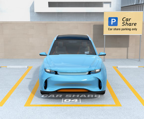Front view of electric SUV in carsharing parking lot. Car sharing concept. 3D rendering image.