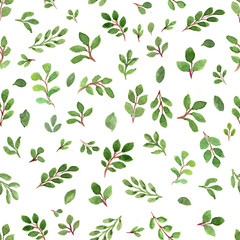 Seamless watercolor patters with green leaves