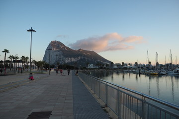 Gibraltar, view from La Línea, Spain. Port with sailing boats, early morning