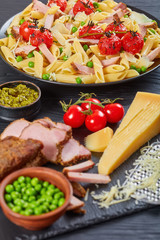 delicious summer salad with pasta penne