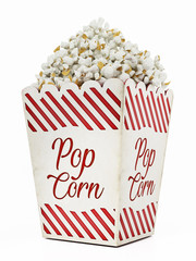 Vintage popcorn isolated on white background. 3D illustration
