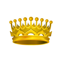 Gorgeous golden crown. Realistic icon of shiny king attribute with yellow gradient. Vector element for luxury label or logo