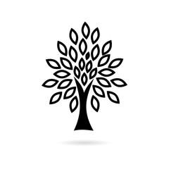 Black Tree icon, simple vector icon
