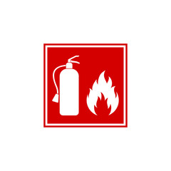 Red square wall sign with silhouette of fire extinguisher and flame. Colorful flat vector design