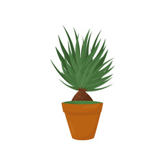 Decorative home plant with green leaves. Nature element for home interior. Flat vector icon of houseplant in brown pot. Indoor gardening
