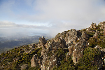 View of Hobart from the Observation Point on the summit of Mount Wellington in Tasmania.