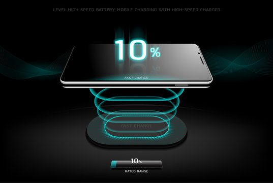 The Level Fast Charging Smartphone wireless charging design style on Black background