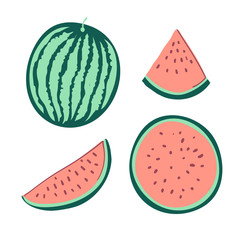 Watermelon is cut. Set of slices of ripe watermelon. Summer Fruit