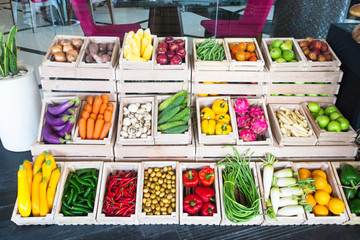 Good choice of fresh fruit and vegetables in the wooden crates