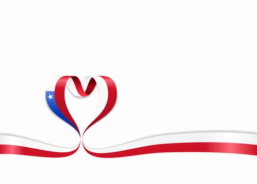 Chilean flag heart-shaped ribbon. Vector illustration.