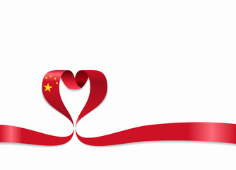 Chinese flag heart-shaped ribbon. Vector illustration.