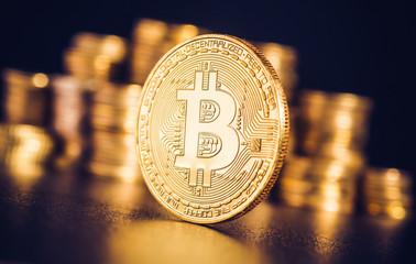 Bitcoin. Crypto currency Gold Bitcoin, BTC, Bit Coin. Macro shot of Bitcoin coins isolated on black background Blockchain technology,