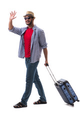 Young man ready for summer travel isolated on white