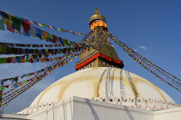 Boudhanath Stupa in the evening sun, Kathmandu, Nepal