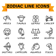Zodiac Line Icons. Zodiac signs in thin line style on white background. Set of modern vector plain line design icons and zodiac signs.