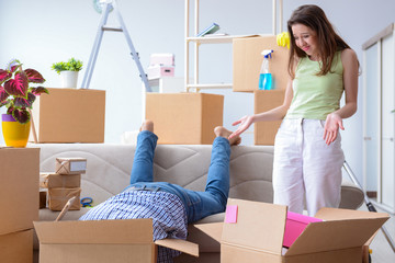 Young family moving to new apartment