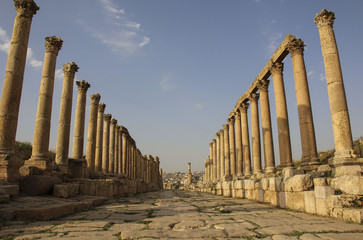 Columns of the Cardo Maximus (The Colonnaded Street), Ancient Roman city of Gerasa of Antiquity, modern Jerash, Jordan