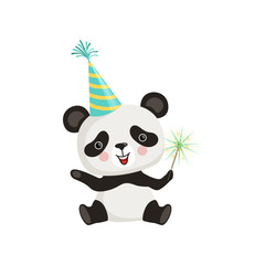 Funny little panda sitting on floor and holding sparkle stick. Cartoon bamboo bear in party hat. Flat vector design for postcard or sticker